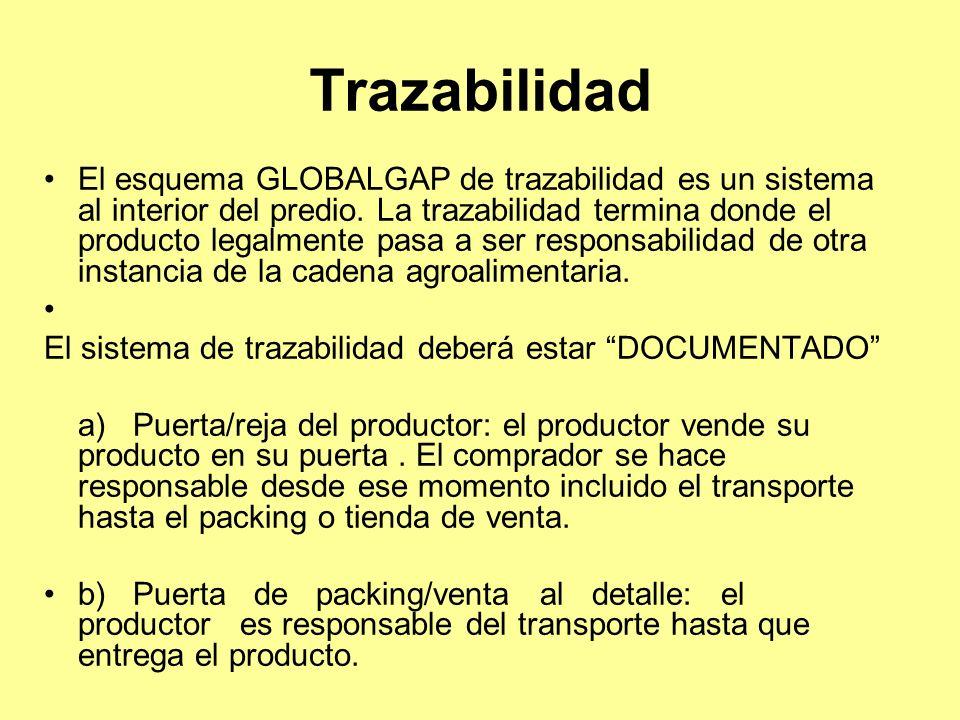 Trazabilidad El esquema GLOBALGAP de trazabilidad es un sistema al interior del predio.