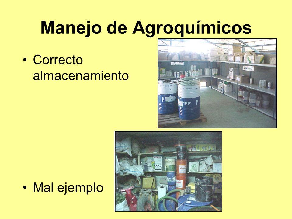 Manejo de Agroquímicos Correcto almacenamiento Mal ejemplo