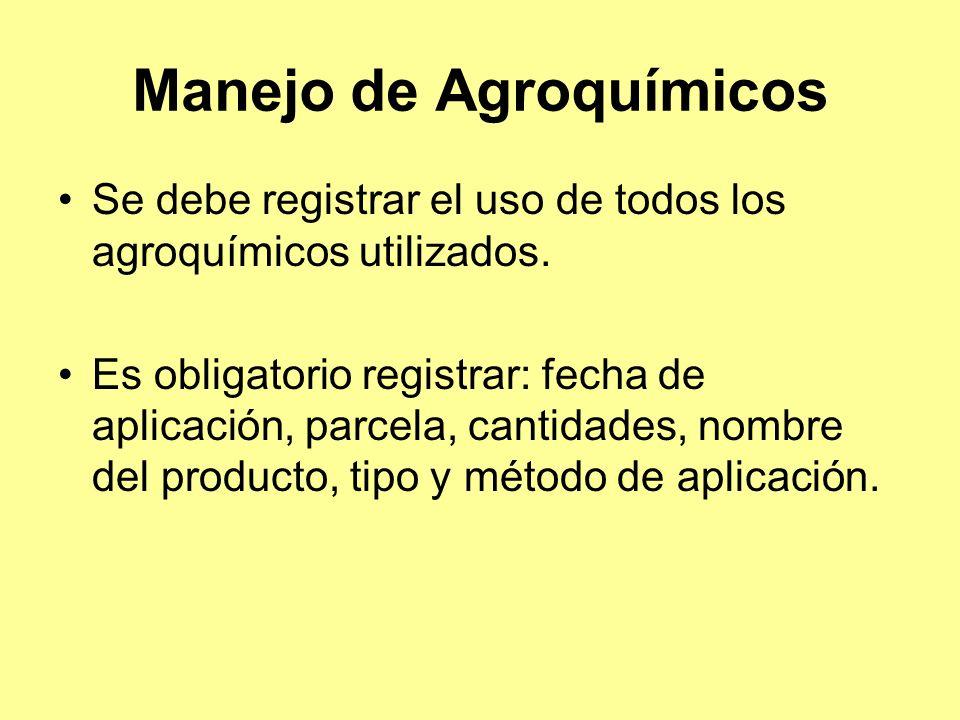 Manejo de Agroquímicos Se debe registrar el uso de todos los agroquímicos utilizados.