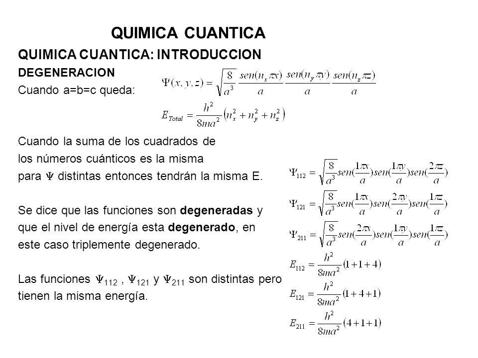 QUIMICA CUANTICA QUIMICA CUANTICA: INTRODUCCION DEGENERACION Cuando a=b=c queda: Cuando la suma de los cuadrados de los números cuánticos es la misma