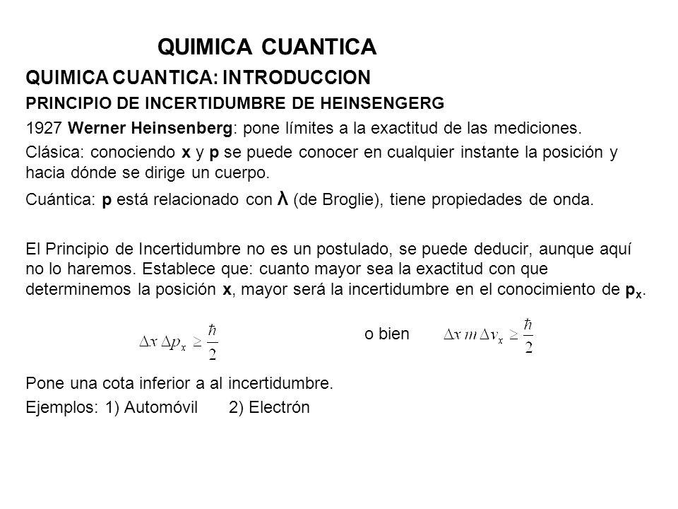 QUIMICA CUANTICA QUIMICA CUANTICA: INTRODUCCION PRINCIPIO DE INCERTIDUMBRE DE HEINSENGERG 1927 Werner Heinsenberg: pone límites a la exactitud de las