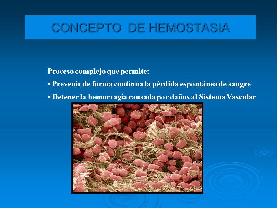 CONCEPTO DE HEMOSTASIA Proceso complejo que permite: Prevenir de forma contínua la pérdida espontánea de sangre Detener la hemorragia causada por daño