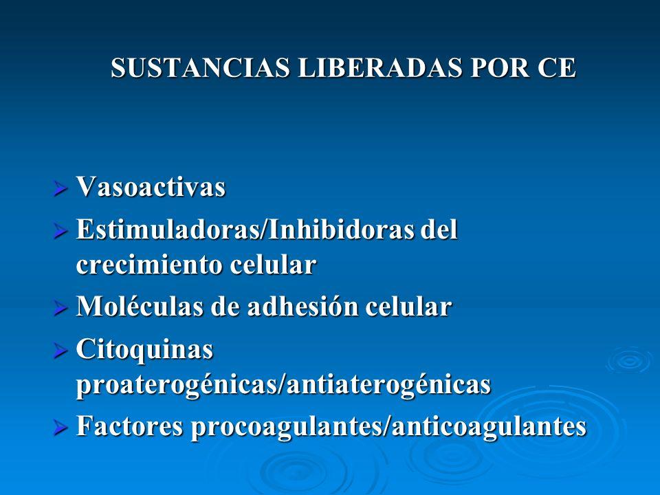 SUSTANCIAS LIBERADAS POR CE Vasoactivas Vasoactivas Estimuladoras/Inhibidoras del crecimiento celular Estimuladoras/Inhibidoras del crecimiento celula