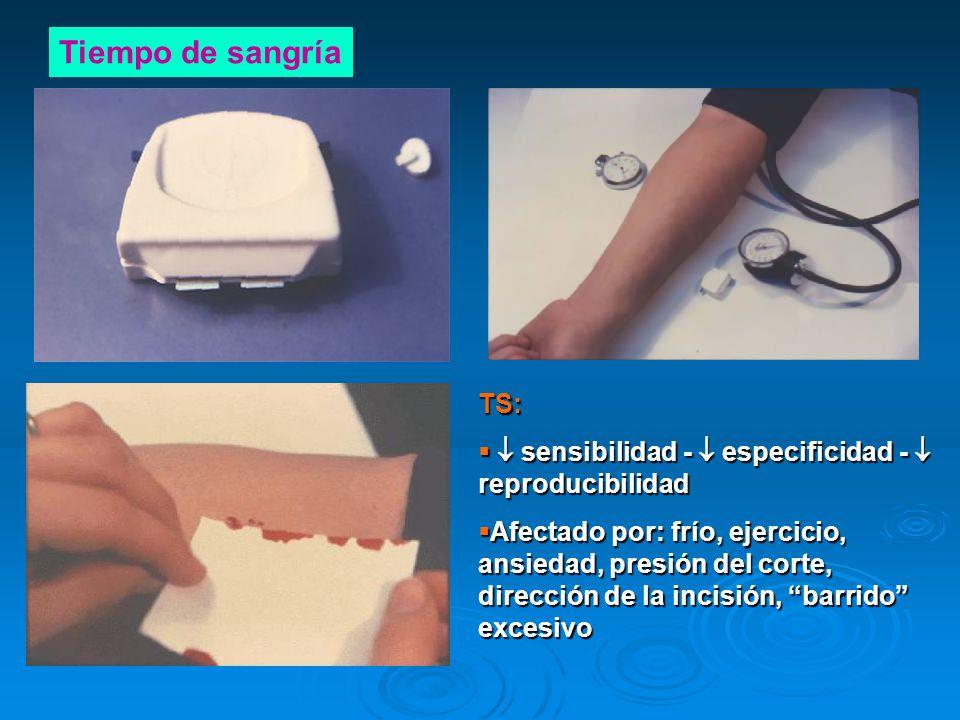 Tiempo de sangría TS: sensibilidad - especificidad - reproducibilidad sensibilidad - especificidad - reproducibilidad Afectado por: frío, ejercicio, a