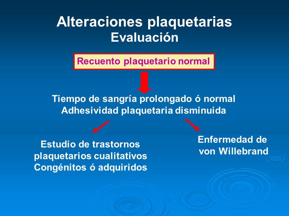 Alteraciones plaquetarias Evaluación Recuento plaquetario normal Tiempo de sangría prolongado ó normal Adhesividad plaquetaria disminuida Enfermedad d