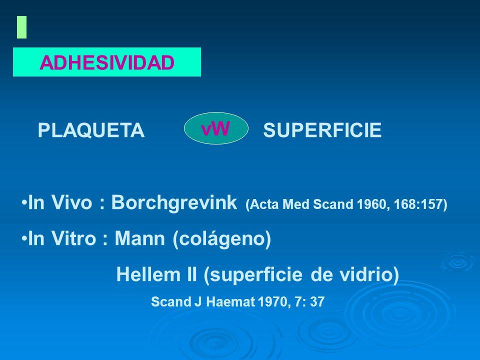 ADHESIVIDAD PLAQUETA SUPERFICIE In Vivo : Borchgrevink (Acta Med Scand 1960, 168:157) In Vitro : Mann (colágeno) Hellem II (superficie de vidrio) Scan
