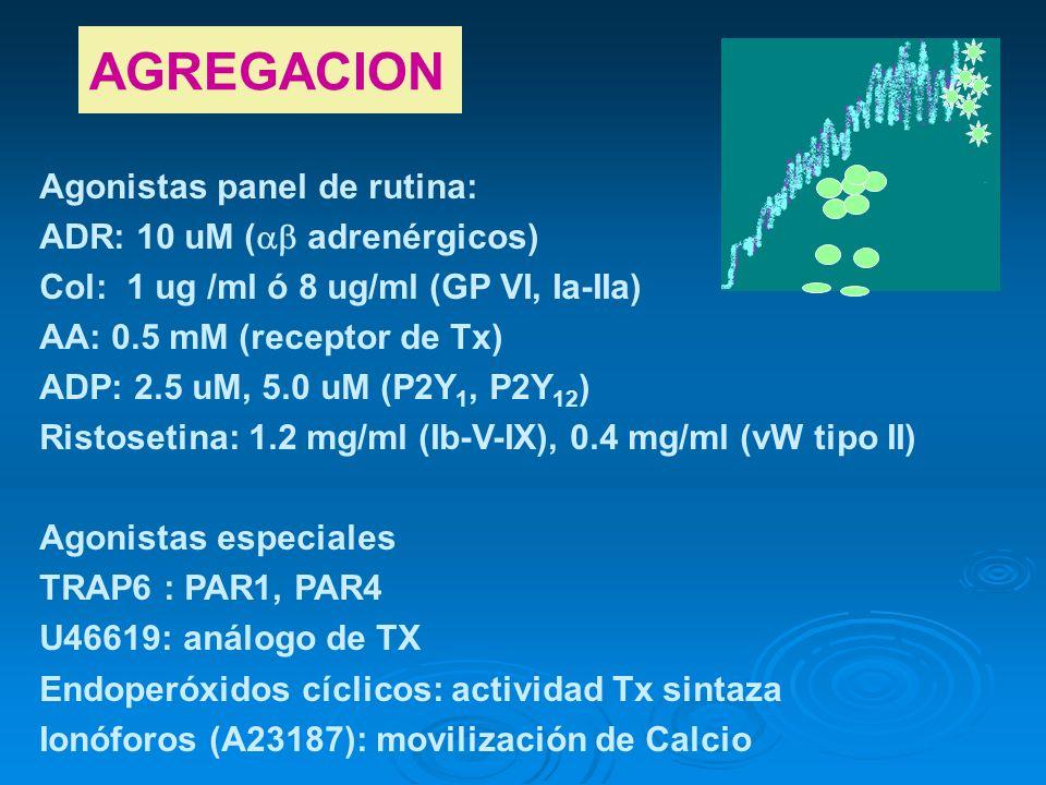 AGREGACION Agonistas panel de rutina: ADR: 10 uM ( adrenérgicos) Col: 1 ug /ml ó 8 ug/ml (GP VI, Ia-IIa) AA: 0.5 mM (receptor de Tx) ADP: 2.5 uM, 5.0