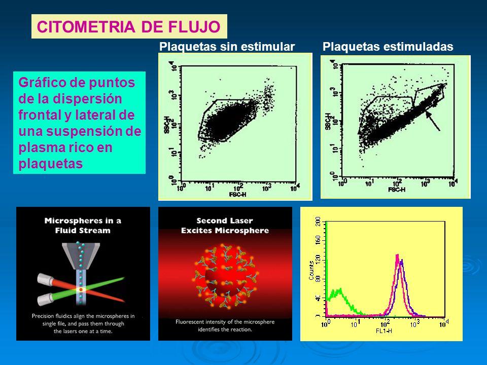 CITOMETRIA DE FLUJO Gráfico de puntos de la dispersión frontal y lateral de una suspensión de plasma rico en plaquetas Plaquetas sin estimularPlaqueta