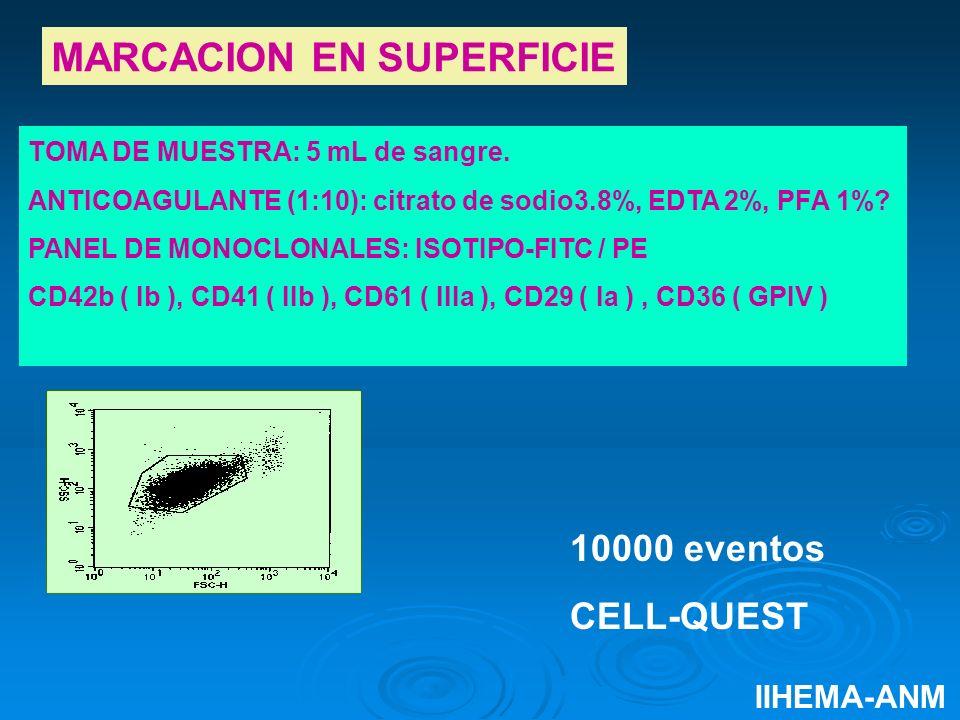 TOMA DE MUESTRA: 5 mL de sangre. ANTICOAGULANTE (1:10): citrato de sodio3.8%, EDTA 2%, PFA 1%? PANEL DE MONOCLONALES: ISOTIPO-FITC / PE CD42b ( Ib ),