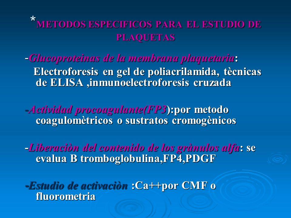 * METODOS ESPECIFICOS PARA EL ESTUDIO DE PLAQUETAS - Glucoproteinas de la membrana plaquetaria: Electroforesis en gel de poliacrilamida, tècnicas de E