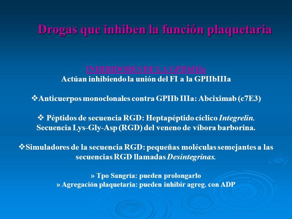 INHIBIDORES DE LA GPIIbIIIa Actúan inhibiendo la unión del FI a la GPIIbIIIa Anticuerpos monoclonales contra GPIIb IIIa: Abciximab (c7E3) Péptidos de