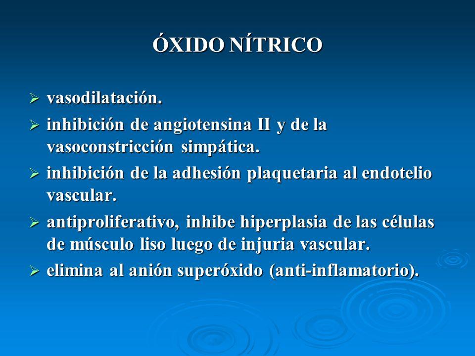 ÓXIDO NÍTRICO vasodilatación. vasodilatación. inhibición de angiotensina II y de la vasoconstricción simpática. inhibición de angiotensina II y de la