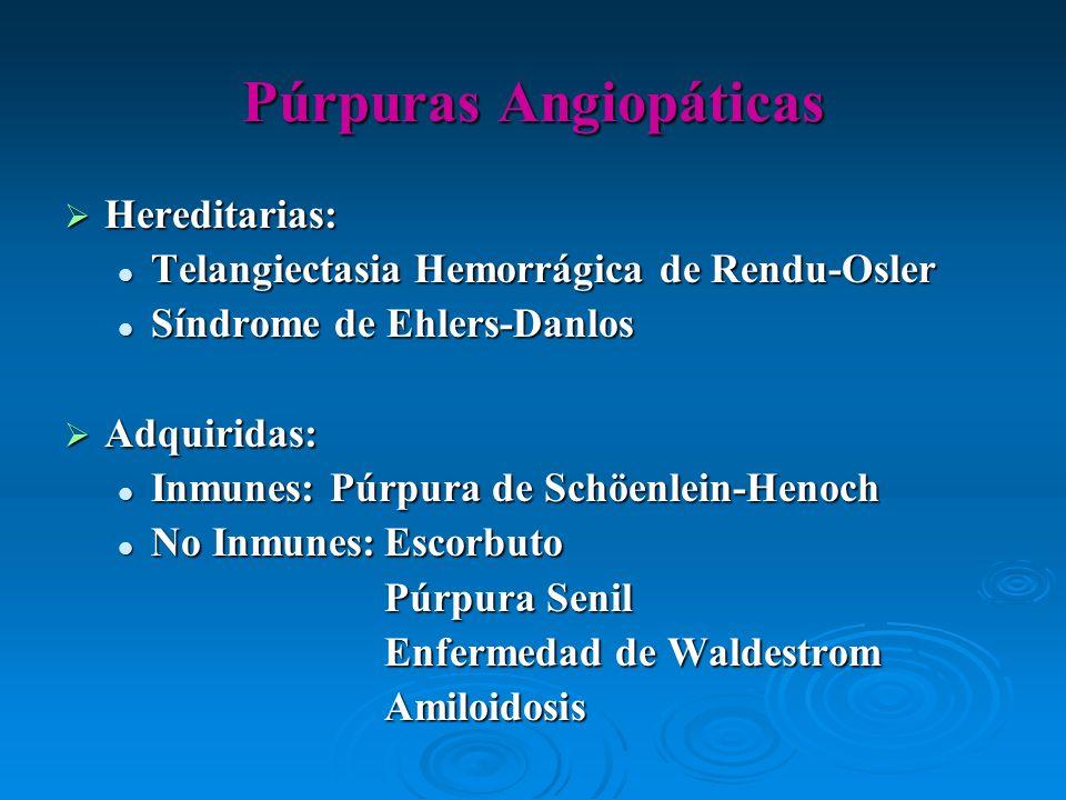 Hereditarias: Hereditarias: Telangiectasia Hemorrágica de Rendu-Osler Telangiectasia Hemorrágica de Rendu-Osler Síndrome de Ehlers-Danlos Síndrome de