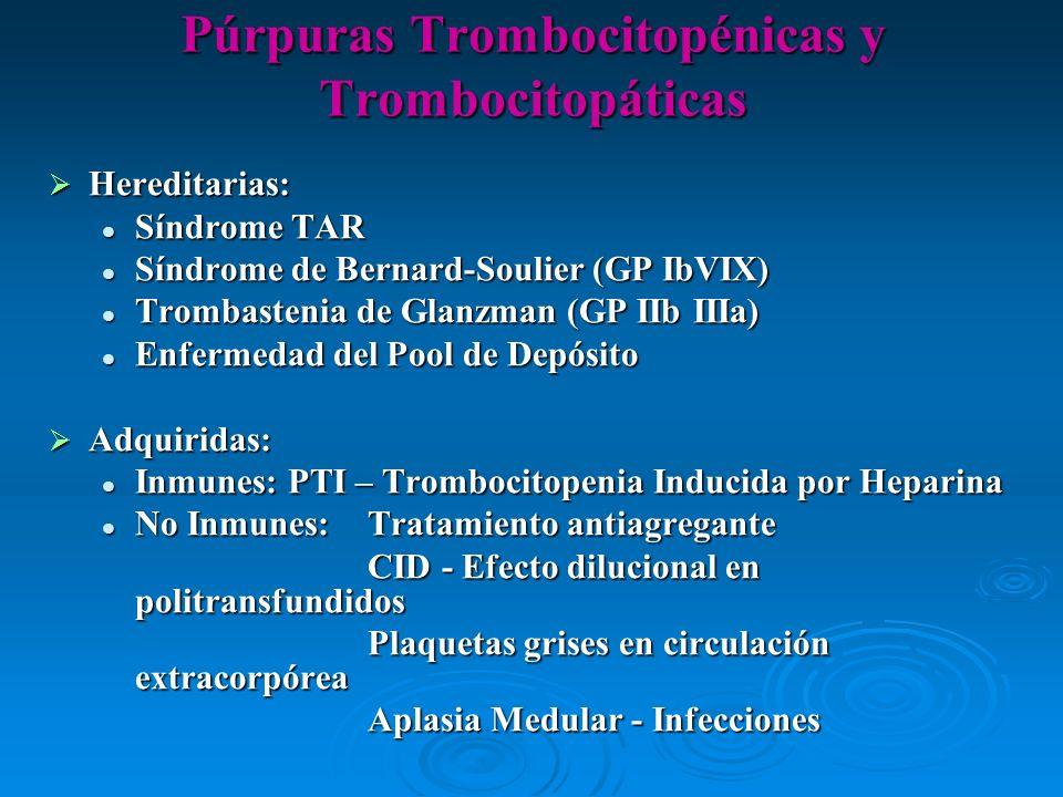 Hereditarias: Hereditarias: Síndrome TAR Síndrome TAR Síndrome de Bernard-Soulier (GP IbVIX) Síndrome de Bernard-Soulier (GP IbVIX) Trombastenia de Gl