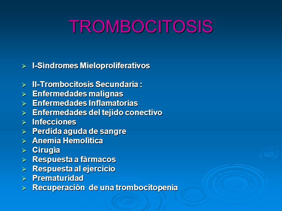 TROMBOCITOSIS I-Sìndromes Mieloproliferativos I-Sìndromes Mieloproliferativos II-Trombocitosis Secundaria : II-Trombocitosis Secundaria : Enfermedades