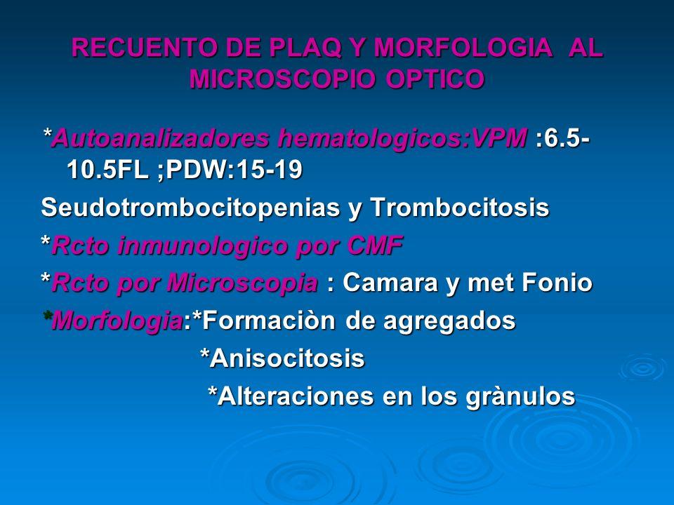 RECUENTO DE PLAQ Y MORFOLOGIA AL MICROSCOPIO OPTICO *Autoanalizadores hematologicos:VPM :6.5- 10.5FL ;PDW:15-19 Seudotrombocitopenias y Trombocitosis