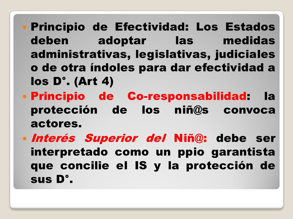 Principio de Efectividad: Los Estados deben adoptar las medidas administrativas, legislativas, judiciales o de otra índoles para dar efectividad a los