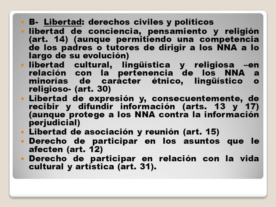 B- Libertad: derechos civiles y políticos libertad de conciencia, pensamiento y religión (art. 14) (aunque permitiendo una competencia de los padres o