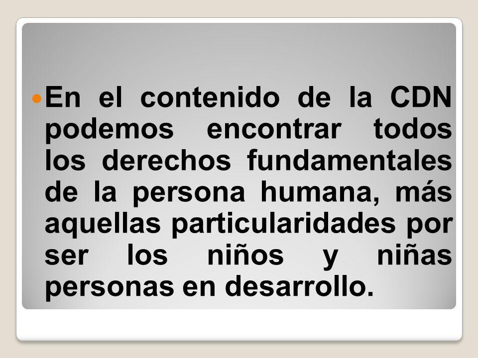 En el contenido de la CDN podemos encontrar todos los derechos fundamentales de la persona humana, más aquellas particularidades por ser los niños y n