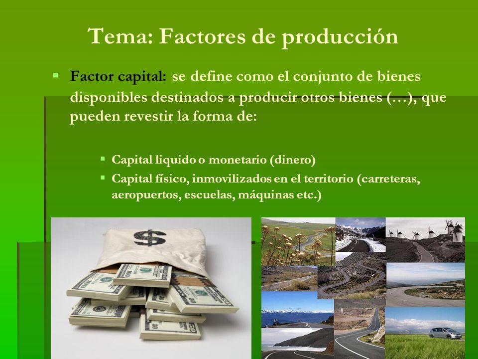 Factor capital Podemos hablar de diferentes tipos de capitales: Capital fijo: corresponde a aquellos bienes de producción duraderos que se acumulan en el tiempo Capital circundante: es aquel que se consume en el proceso productivo ( pago de salarios, energía etc.).