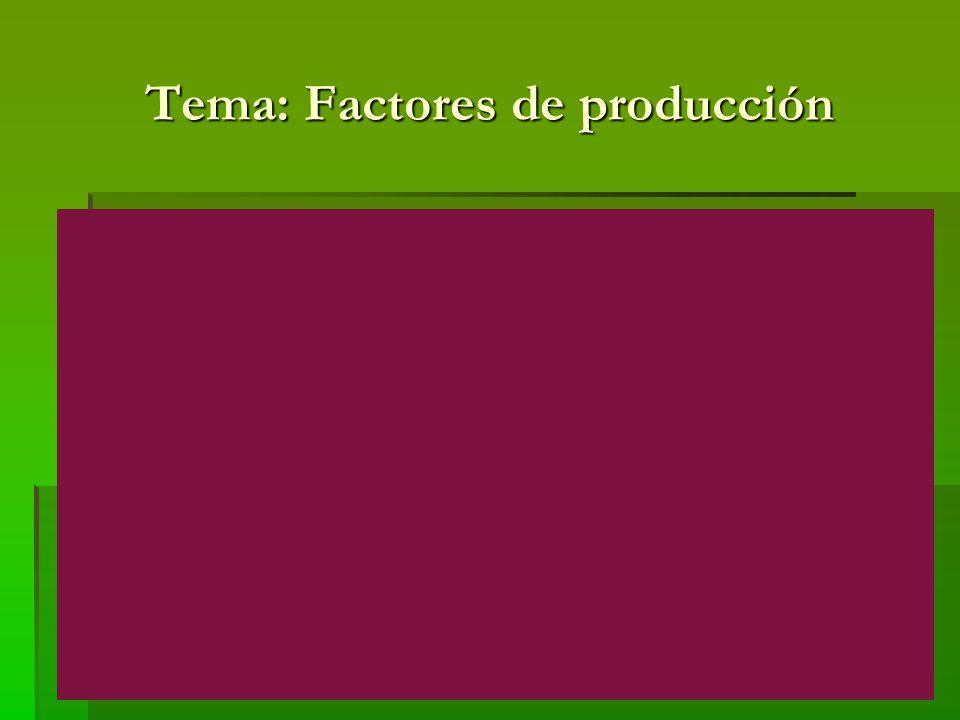 Factores de producción Consideraciones finales: La importancia y el significado de estos cuatro factores productivos han variado a lo largo del tiempo y también resulta diferente según territorios.