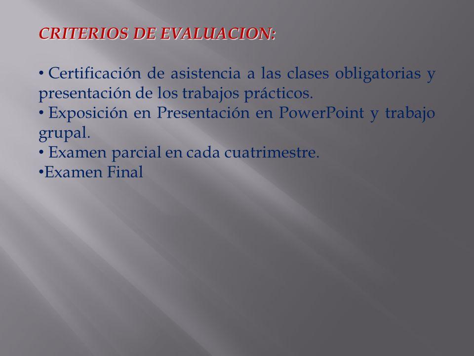 CRITERIOS DE EVALUACION: Certificación de asistencia a las clases obligatorias y presentación de los trabajos prácticos.