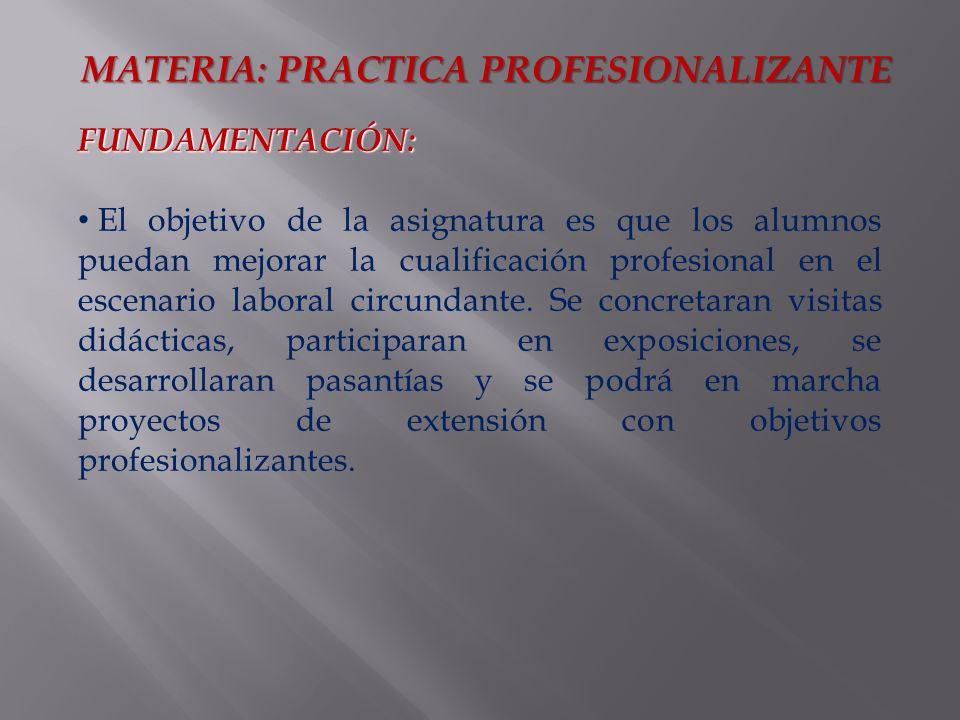 FUNDAMENTACIÓN: El objetivo de la asignatura es que los alumnos puedan mejorar la cualificación profesional en el escenario laboral circundante.