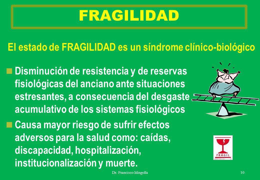 FRAGILIDAD Disminución de resistencia y de reservas fisiológicas del anciano ante situaciones estresantes, a consecuencia del desgaste acumulativo de