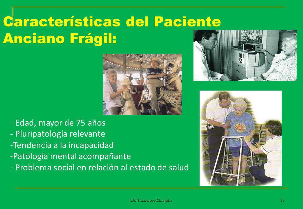 Características del Paciente Anciano Frágil: - Edad, mayor de 75 años - Pluripatología relevante -Tendencia a la incapacidad -Patología mental acompañ