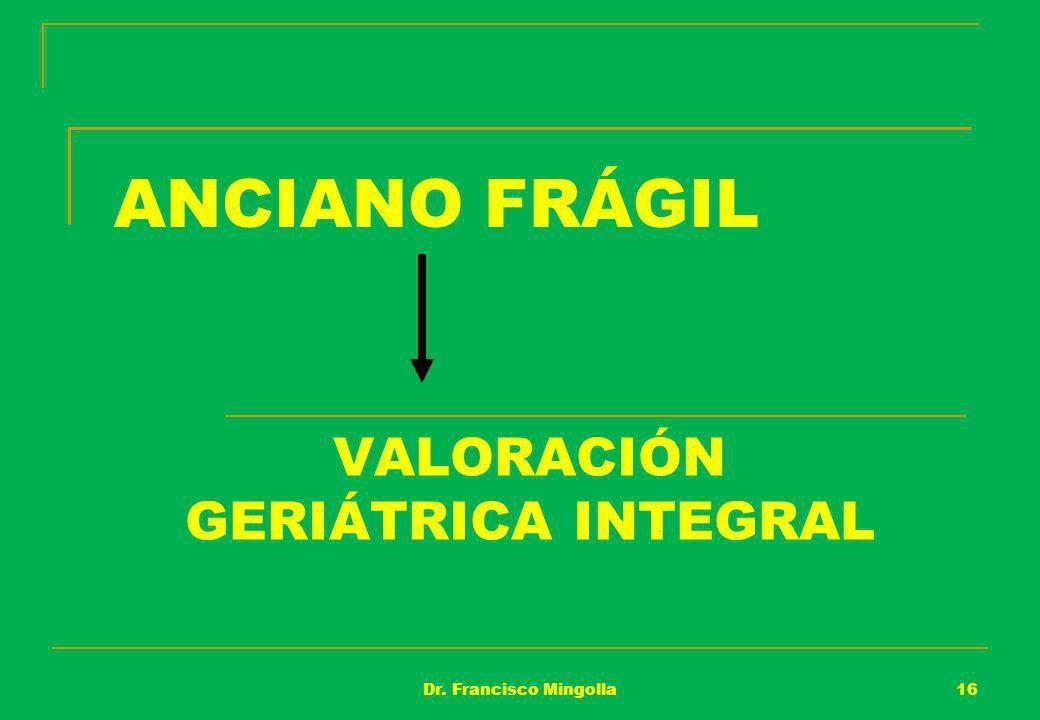 ANCIANO FRÁGIL VALORACIÓN GERIÁTRICA INTEGRAL 16Dr. Francisco Mingolla