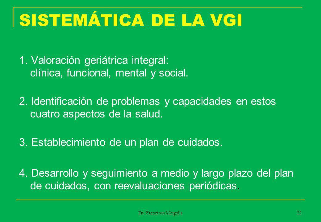 SISTEMÁTICA DE LA VGI 1. Valoración geriátrica integral: clínica, funcional, mental y social. 2. Identificación de problemas y capacidades en estos cu