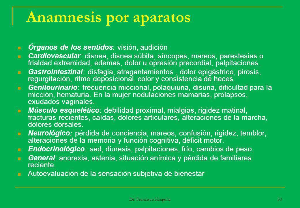 Anamnesis por aparatos Órganos de los sentidos: visión, audición Cardiovascular: disnea, disnea súbita, síncopes, mareos, parestesias o frialdad extre