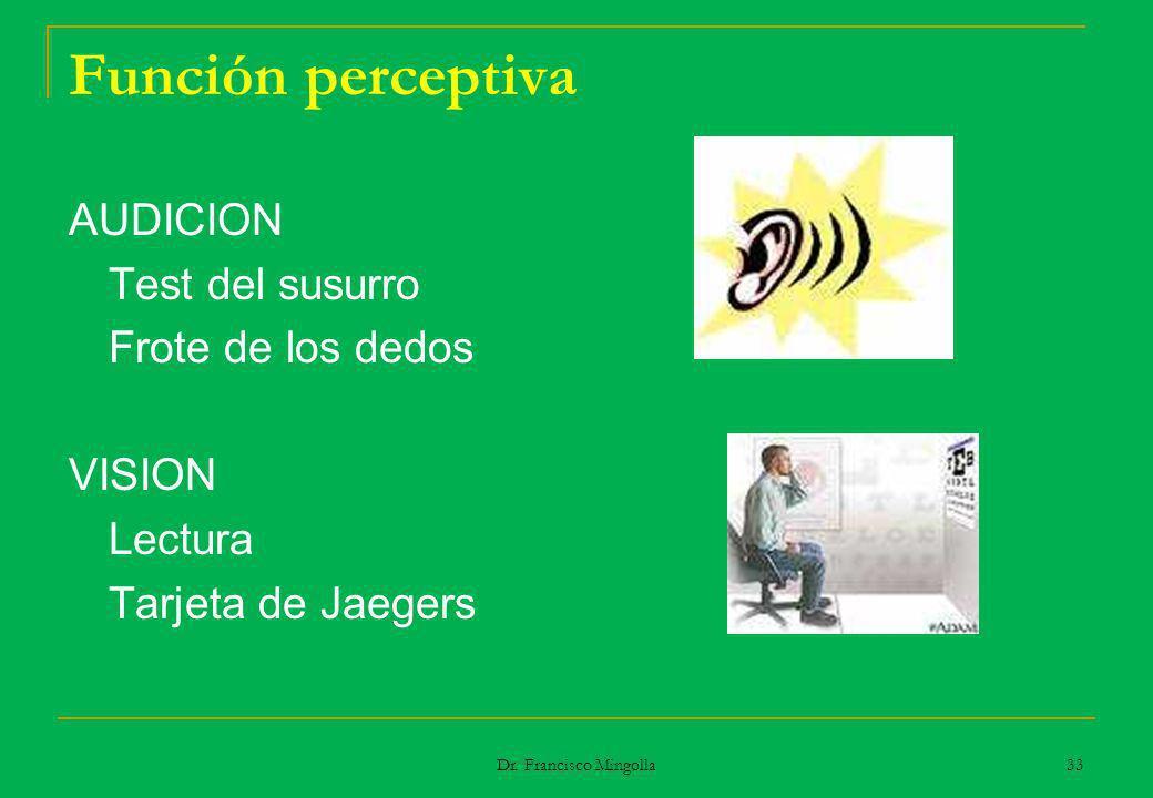 Función perceptiva AUDICION Test del susurro Frote de los dedos VISION Lectura Tarjeta de Jaegers 33 Dr. Francisco Mingolla