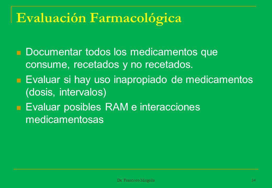 Evaluación Farmacológica Documentar todos los medicamentos que consume, recetados y no recetados. Evaluar si hay uso inapropiado de medicamentos (dosi