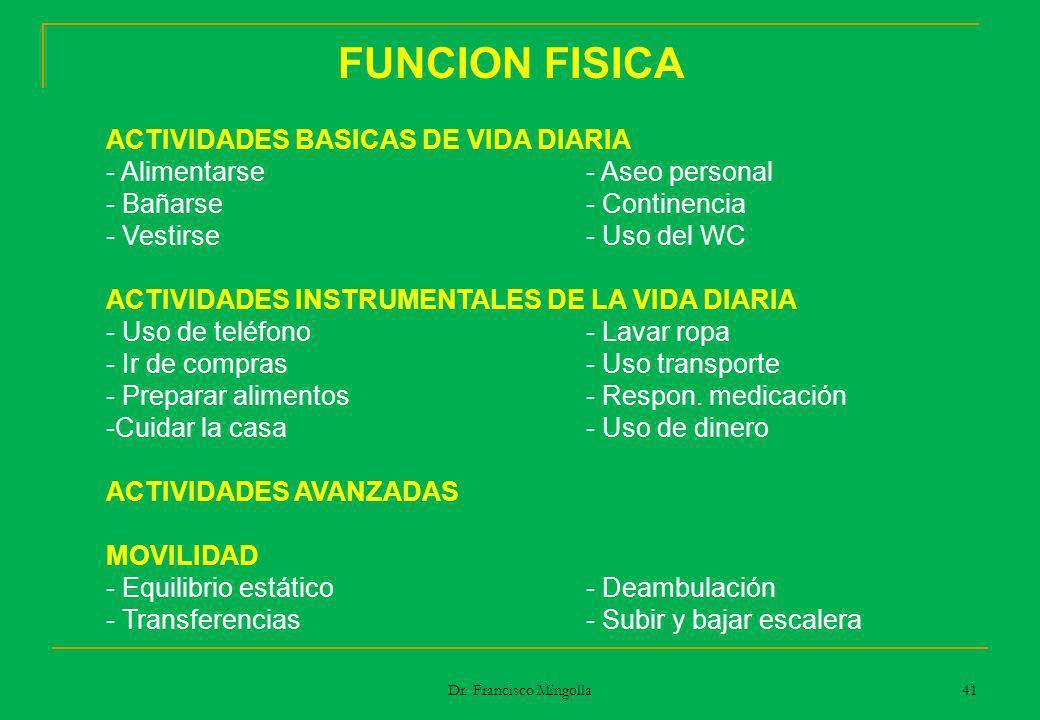 FUNCION FISICA ACTIVIDADES BASICAS DE VIDA DIARIA - Alimentarse- Aseo personal - Bañarse- Continencia - Vestirse- Uso del WC ACTIVIDADES INSTRUMENTALE