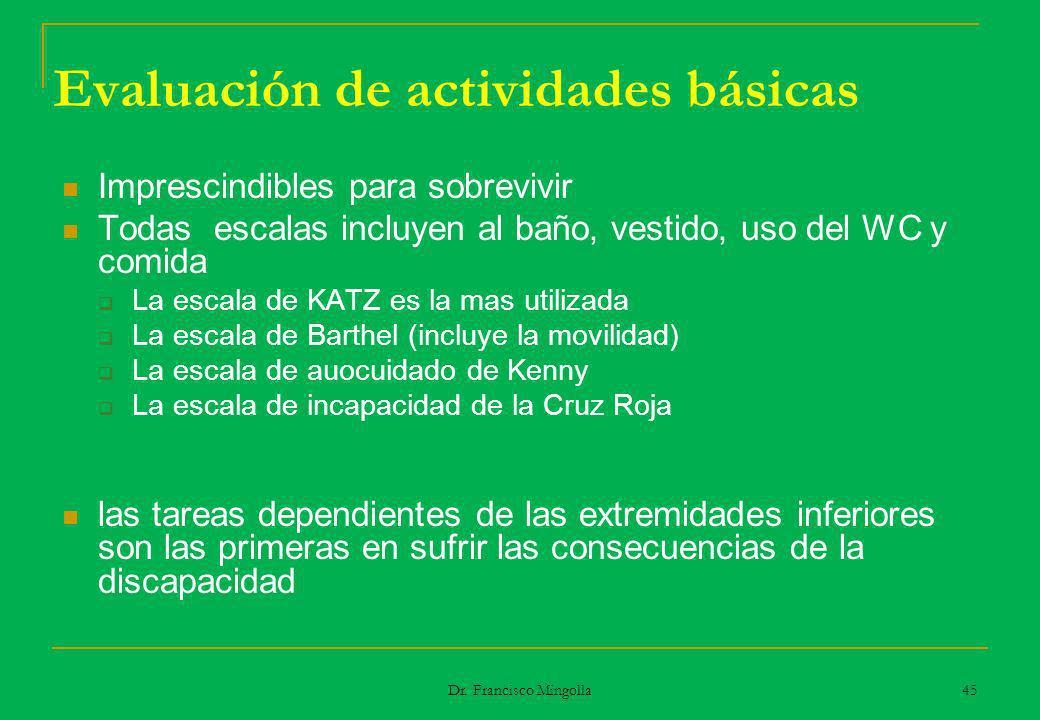 Evaluación de actividades básicas Imprescindibles para sobrevivir Todas escalas incluyen al baño, vestido, uso del WC y comida La escala de KATZ es la