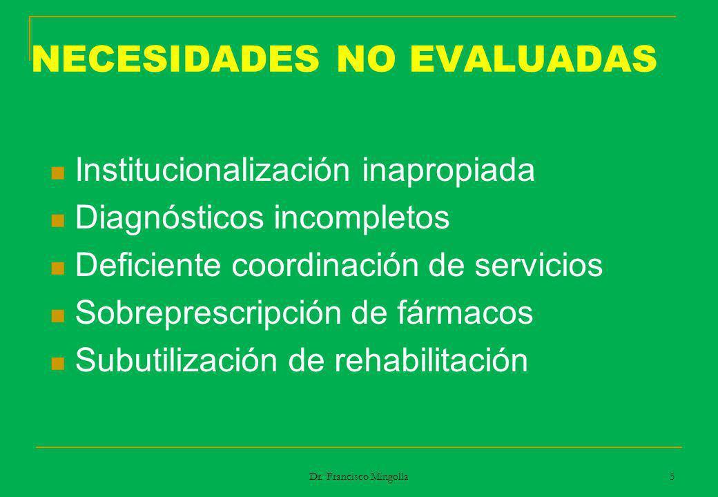 NECESIDADES NO EVALUADAS Institucionalización inapropiada Diagnósticos incompletos Deficiente coordinación de servicios Sobreprescripción de fármacos