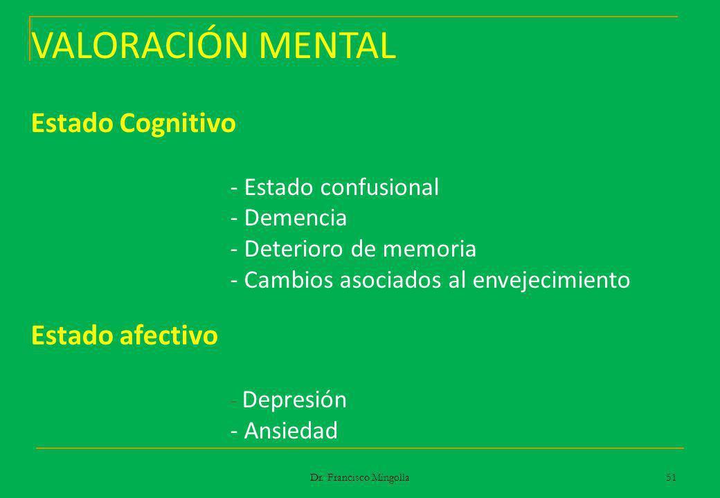 VALORACIÓN MENTAL Estado Cognitivo - Estado confusional - Demencia - Deterioro de memoria - Cambios asociados al envejecimiento Estado afectivo - Depr