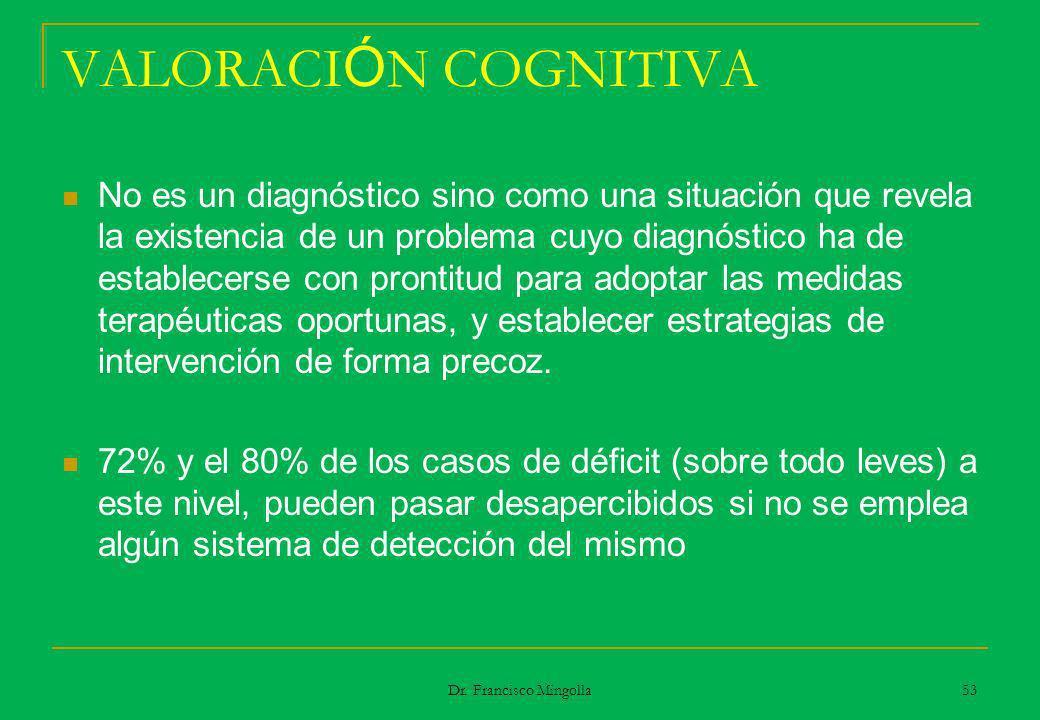 VALORACI Ó N COGNITIVA No es un diagnóstico sino como una situación que revela la existencia de un problema cuyo diagnóstico ha de establecerse con pr