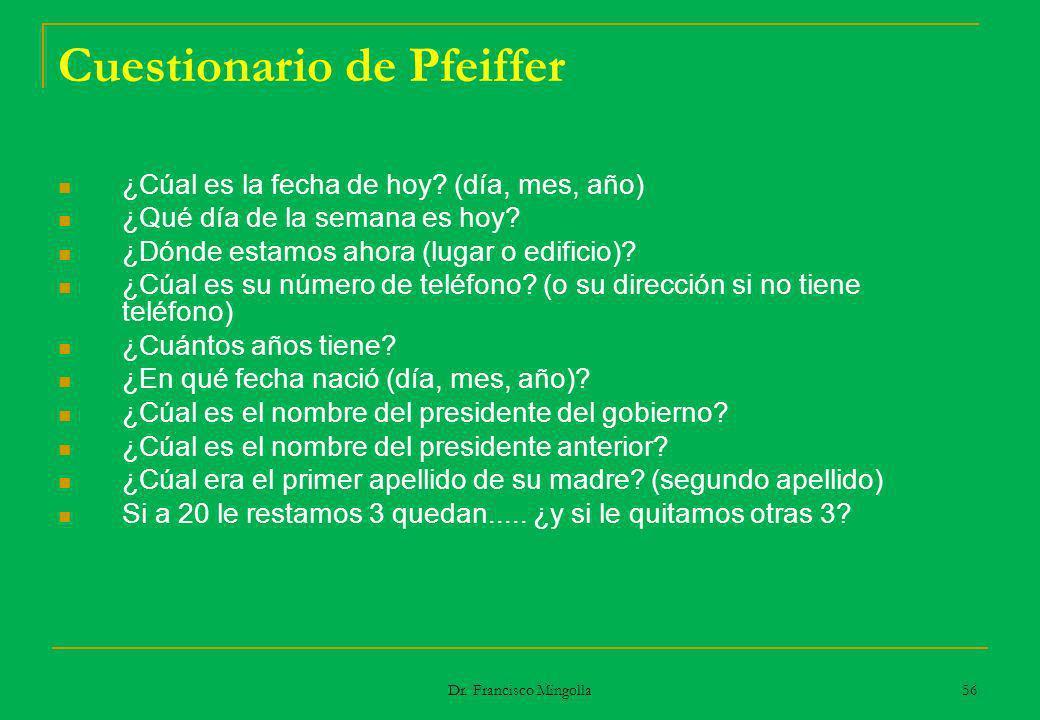 Cuestionario de Pfeiffer ¿Cúal es la fecha de hoy? (día, mes, año) ¿Qué día de la semana es hoy? ¿Dónde estamos ahora (lugar o edificio)? ¿Cúal es su