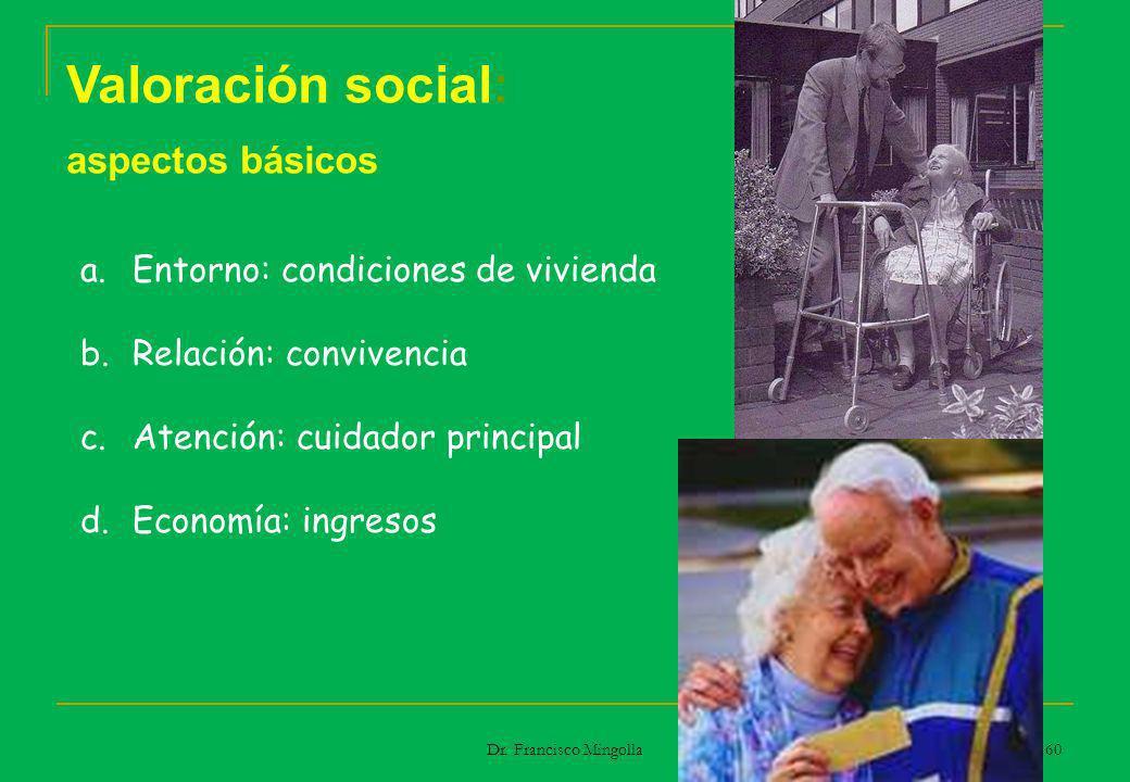 Valoración social: aspectos básicos a.Entorno: condiciones de vivienda b.Relación: convivencia c.Atención: cuidador principal d.Economía: ingresos 60