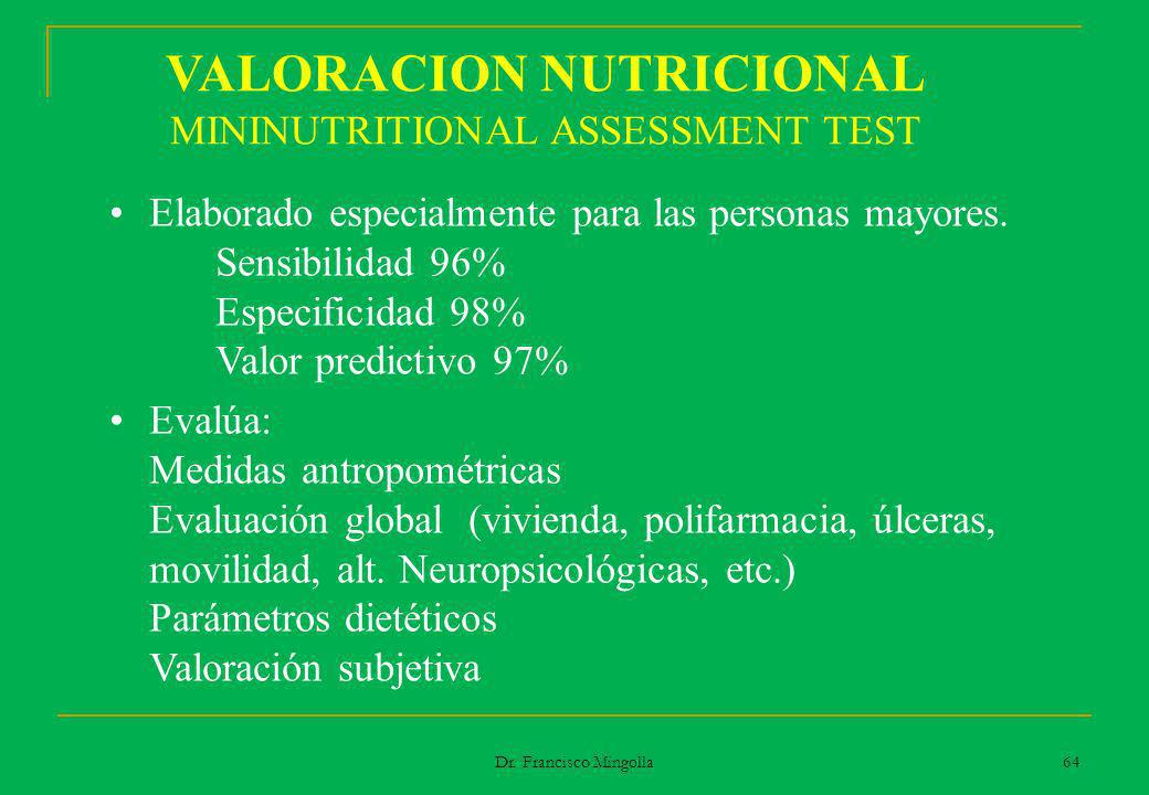 VALORACION NUTRICIONAL MININUTRITIONAL ASSESSMENT TEST Elaborado especialmente para las personas mayores. Sensibilidad 96% Especificidad 98% Valor pre