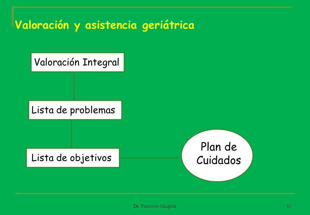 Valoración y asistencia geriátrica Valoración Integral Lista de problemas Lista de objetivos Plan de Cuidados 65 Dr. Francisco Mingolla