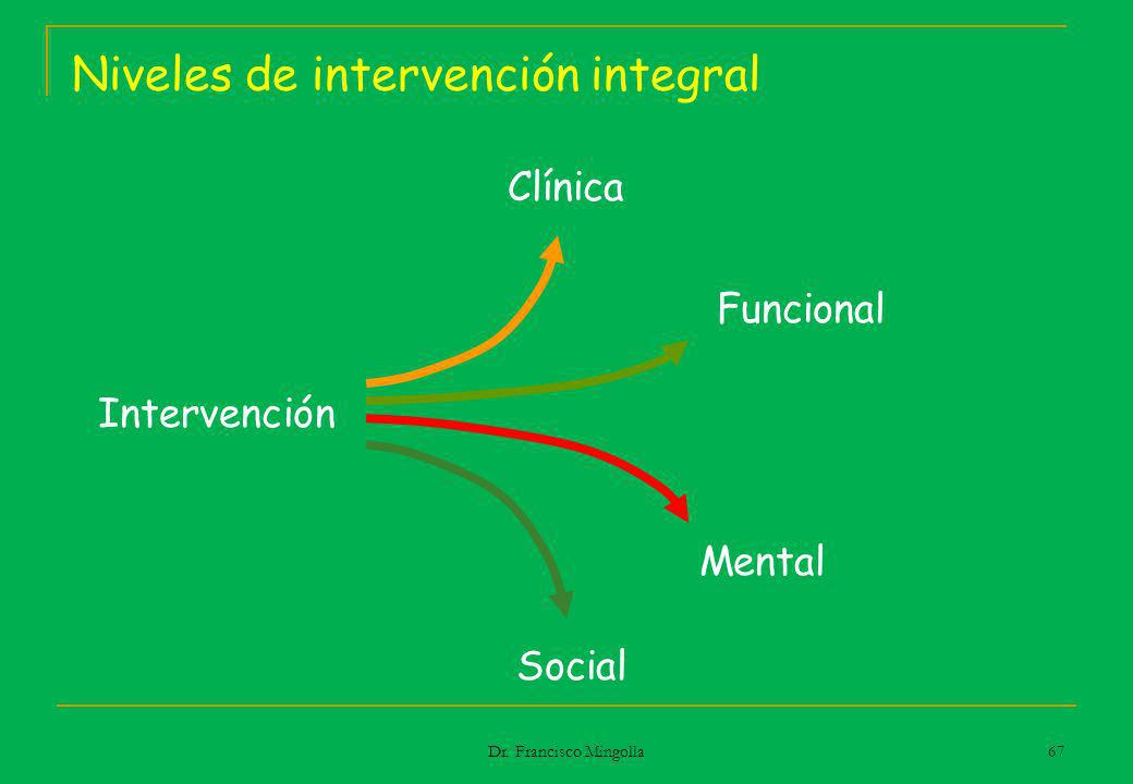 Niveles de intervención integral Intervención Social Funcional Mental Clínica 67 Dr. Francisco Mingolla