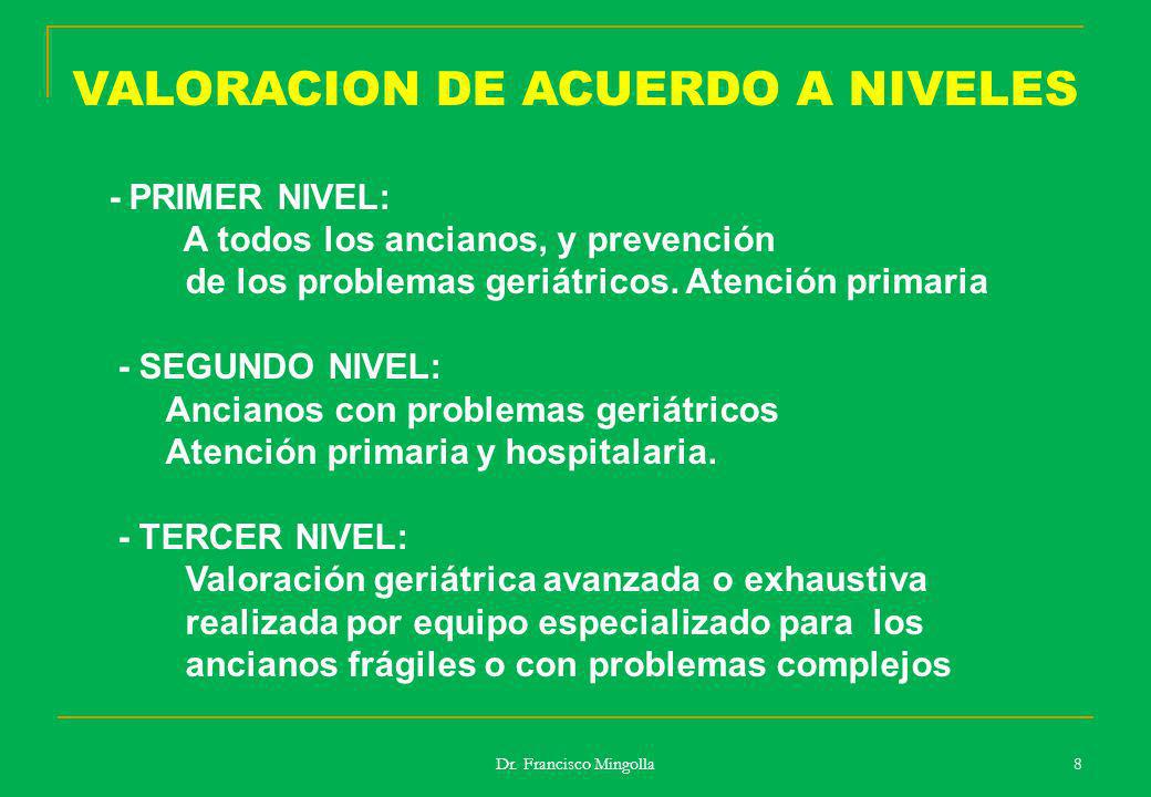 VALORACION DE ACUERDO A NIVELES - PRIMER NIVEL: A todos los ancianos, y prevención de los problemas geriátricos. Atención primaria - SEGUNDO NIVEL: An