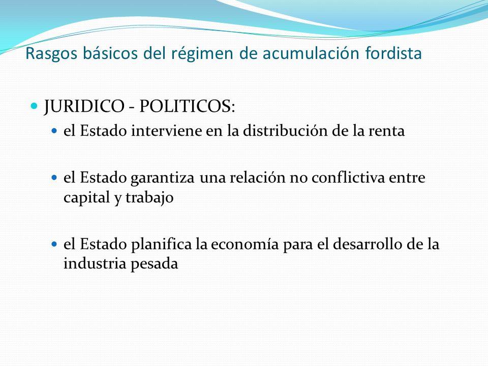 Rasgos básicos del régimen de acumulación fordista JURIDICO - POLITICOS: el Estado interviene en la distribución de la renta el Estado garantiza una r