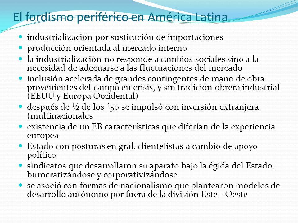 El fordismo periférico en América Latina industrialización por sustitución de importaciones producción orientada al mercado interno la industrializaci