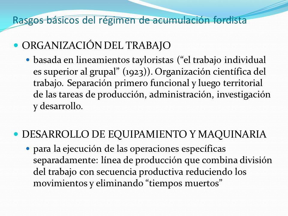 Rasgos básicos del régimen de acumulación fordista ORGANIZACIÓN DEL TRABAJO basada en lineamientos tayloristas (el trabajo individual es superior al g