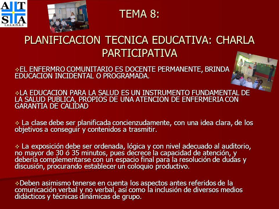 TEMA 8: PLANIFICACION TECNICA EDUCATIVA: CHARLA PARTICIPATIVA EL ENFERMRO COMUNITARIO ES DOCENTE PERMANENTE, BRINDA EDUCACION INCIDENTAL O PROGRAMADA.