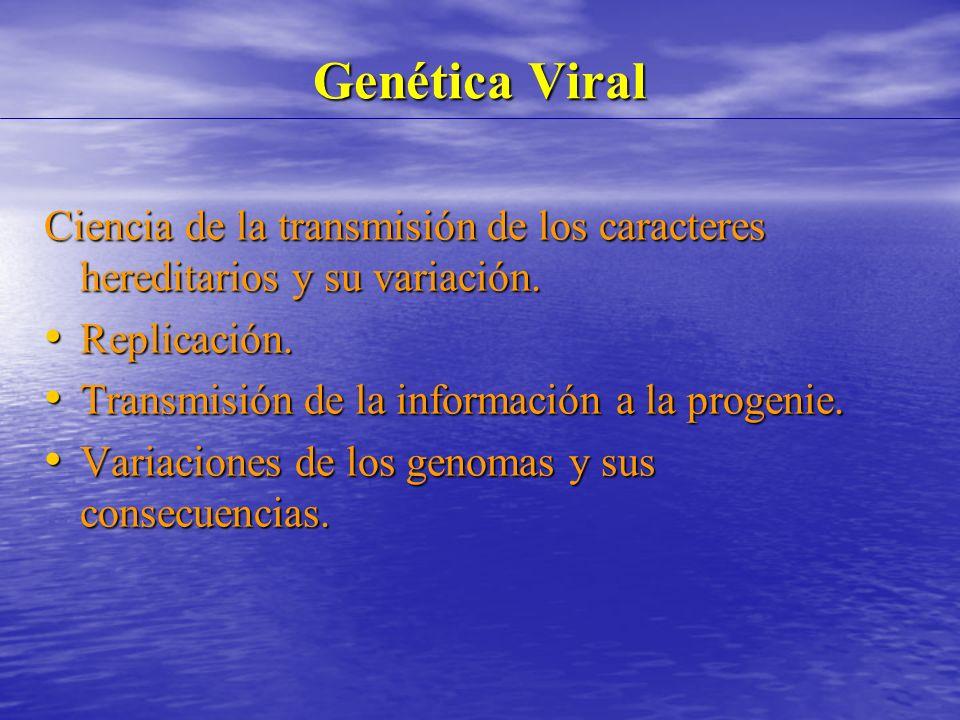 Genética Viral Ciencia de la transmisión de los caracteres hereditarios y su variación.